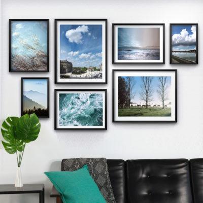 Wall x 7 cuadros con fotos negro